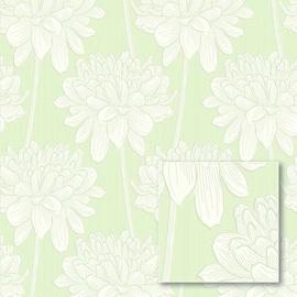 Tapetas flizelino pagrindu, Sintra, 477144, žalias, baltos gėlės