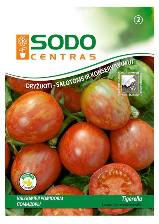 Ēdamo tomātu sēklas Sodo Centras Tigerella