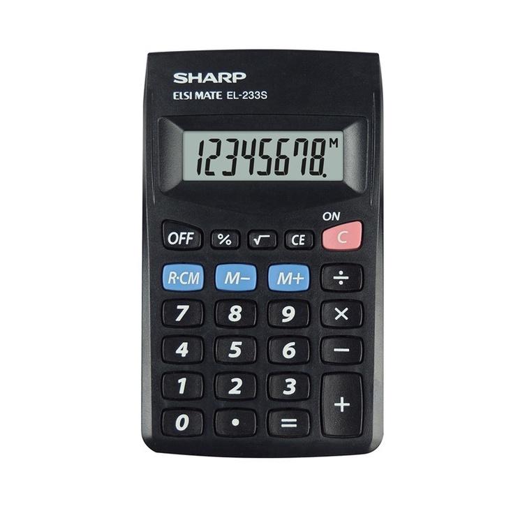 Sharp SH-EL233S Pocket Mini Calculator Black