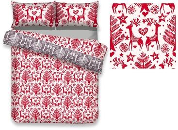 Gultas veļas komplekts AmeliaHome Snuggy, balta/sarkana, 200x220/80x80 cm