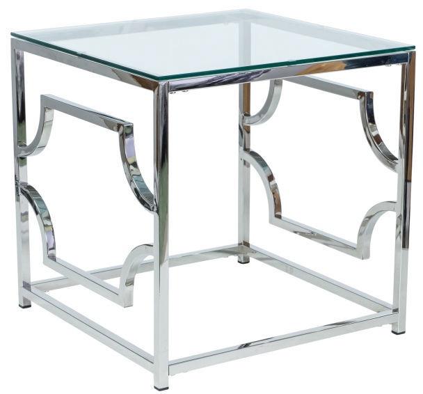 Kafijas galdiņš Signal Meble Versace B Glass/Silver, 550x550x550 mm