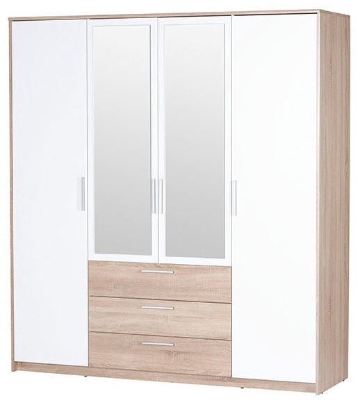 Skapis Szynaka Meble Milo 02, 187x62x206 cm, with mirror