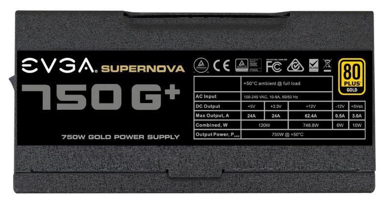 EVGA Power Supply PSU 750 G+750W 80 PLUS Gold
