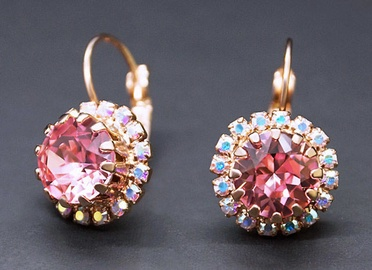 Diamond Sky 18K Rose Gold Earrings Clarice IX Light Rose With Crystals From Swarovski