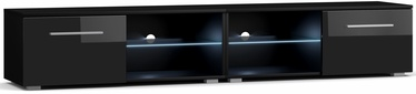 TV galds Vivaldi Meble Moon 2 Double, melna, 2000x400x360 mm