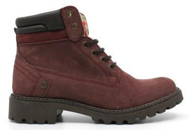 Wrangler Creek Fur Leather Winter Boots Burgundy Red 39