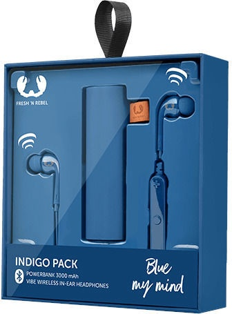 Ausinės Fresh 'n Rebel Vibe Wireless Rockbox Pebble Indigo, belaidės