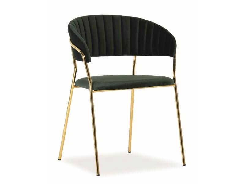 Стул для столовой Signal Meble Lira Velvet Green/Gold, 1 шт.