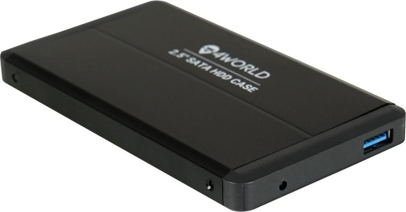 """4World 10253 HDD Case 2.5"""" SATA II 1TB USB 3.0 Aluminium Black"""