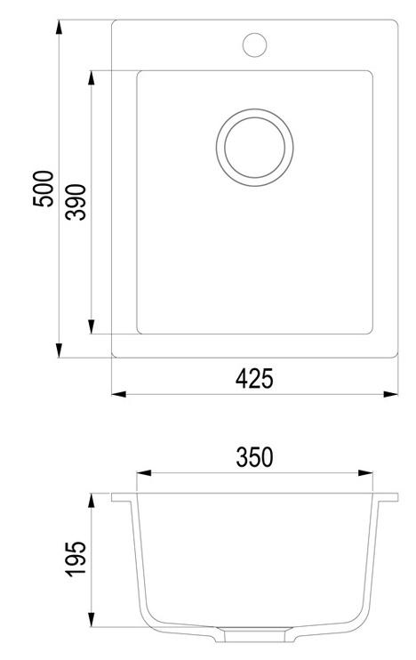Раковина Aquasanita Simplex SQS 100-601 W, масса камня, 425 мм x 500 мм x 195 мм