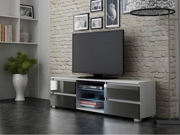 TV-laud Pro Meble Milano 150 With Light White/Grey, 1500x350x420 mm