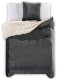 DecoKing Teddy Bedding Set Charcoal 155x220/80x80