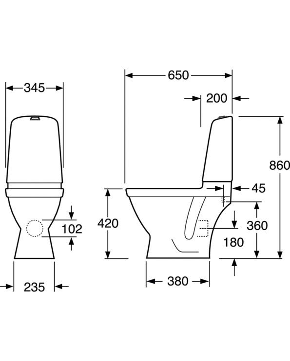 Brīvi stāvošs pods Nautic 1500 bez vāka, vertikāls izvads, Gustavsberg, GB111500201205