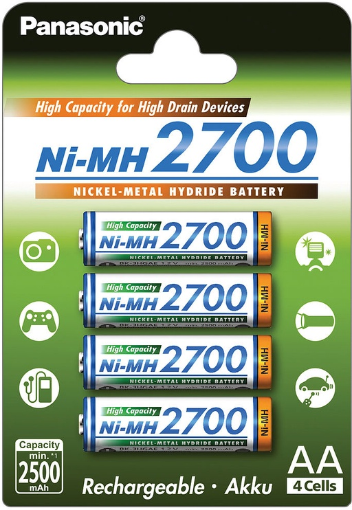 Panasonic NiMh rechargeable battery 4 x AA 2700mAh