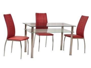 Обеденный стол Signal Meble Modern Pixel, прозрачный/хромовый, 800x600x760мм