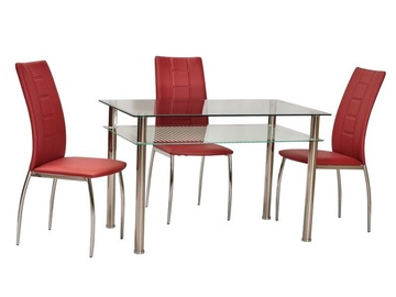 Pusdienu galds Signal Meble Modern Pixel, caurspīdīga/hroma, 800x600x760mm
