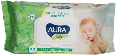 Aura Baby Wet Napkins Aloe Flip Top 100pcs