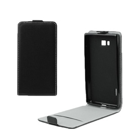 Forcell Flexi Slim Flip For Sony D6603 Xperia Z3 Vertical Case In Silicone Holder Black