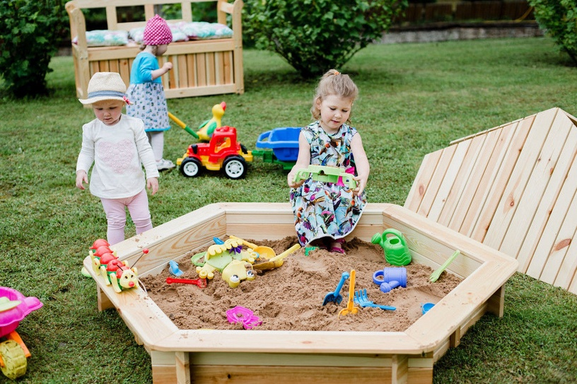 Folkland Timber Sandbox with Foldable Lid 1300x200x1300mm