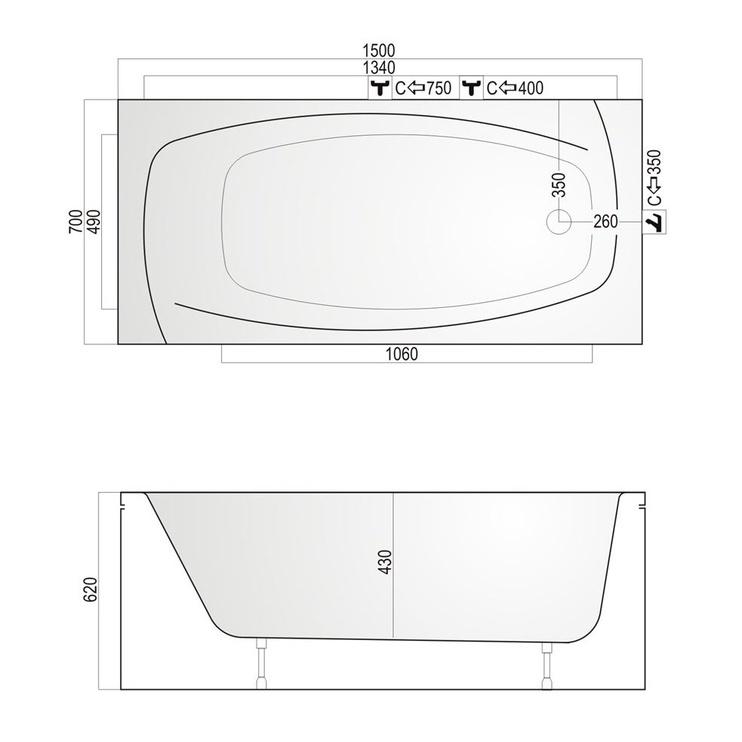 Vonia Kyma Lina 150x70x62 cm, akrilas, stačiakampė