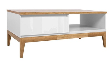 Kavos staliukas Black Red White Kioto White/Oak, 1100x600x455 mm