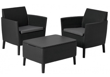 Keter Salemo Balcony Set w/ Storage Table Graphite