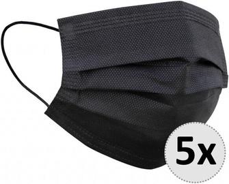 QJM Disposable 3-layer Protective Hygienic Face Mask Black 5pcs
