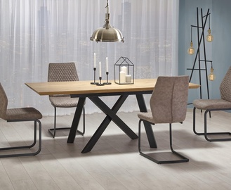 Pusdienu galds Halmar Capital, melna/ozola, 1600 - 2000x900x760mm