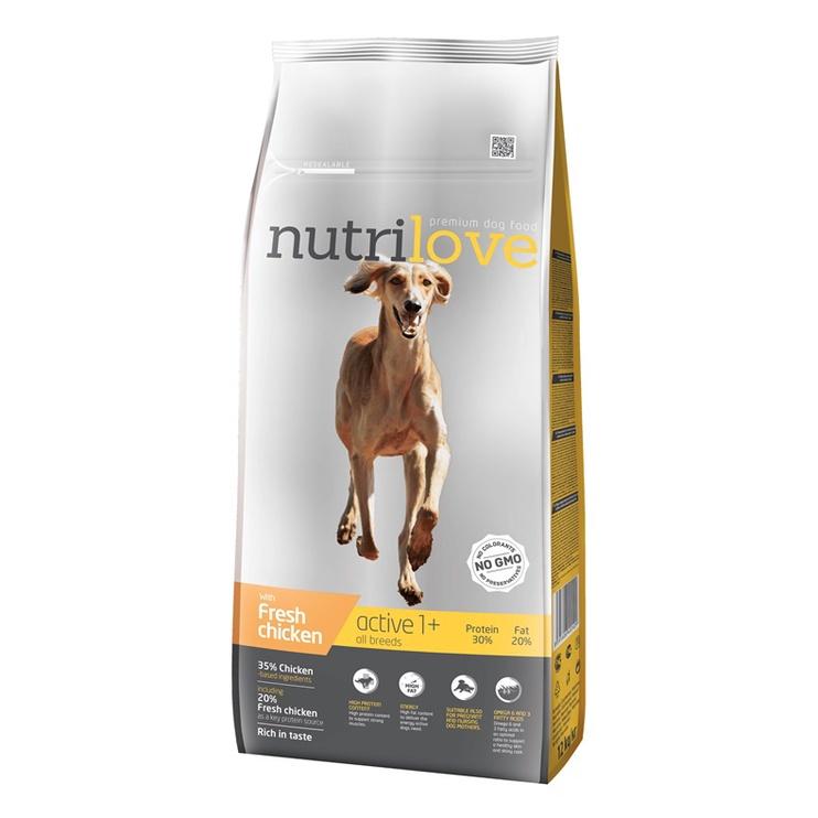 Sausas ėdalas šunims Nutrilove Active, su vištiena, 12 kg