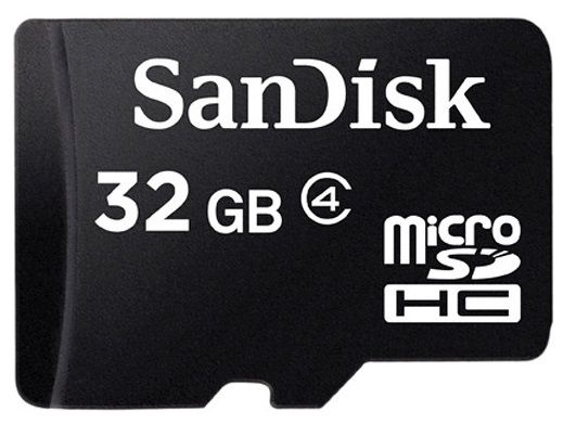 SanDisk 32GB Micro SDHC Class 4 Card + Adapter