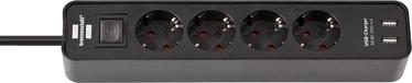 Brennenstuhl Ecolor With USB Charger Extension Socket 4 Outlets 1.4m Black
