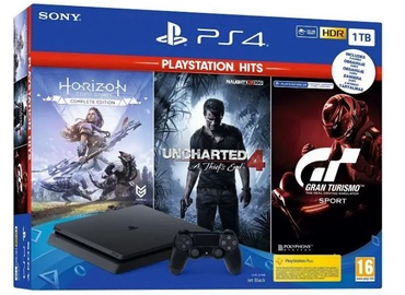 Sony PlayStation 4 (PS4) Slim 1TB Black + GT Sport + Horizon Zero Dawn Bundle + Unchanged 4