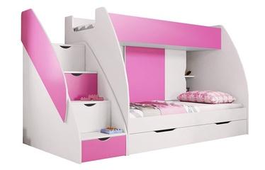 Dviaukštė lova Idzczak Meble Marcinek White/Pink, 255x125 cm