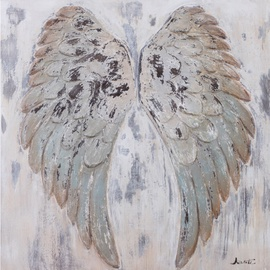 Home4you Oil Painting 90x90cm Angel Wings