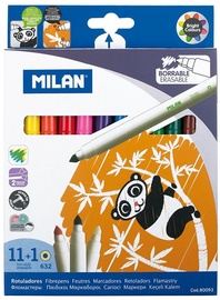 Milan Box Of 11 Erasable Fibrepens + 1 Eraser Fibrepen