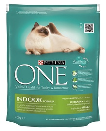 Kaķu barība One Indoor ar tītara gaļu 200g