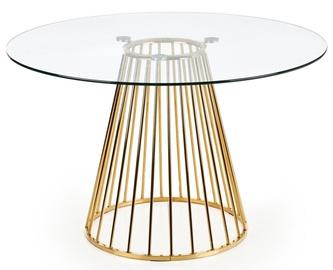 Pusdienu galds Halmar Liverpool, caurspīdīga/zelta, 1200x1200x750mm