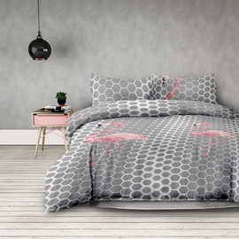 AmeliaHome Basic Flamingo Light Bedding Set 155x220 2pcs/80x80 2pcs
