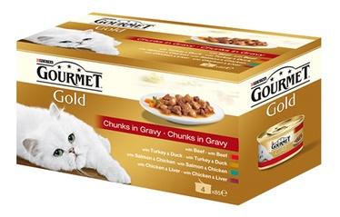 Konservuotas ėdalas suaugusioms katėms Gourmet Gold, su mėsa, 4 x 85 gr