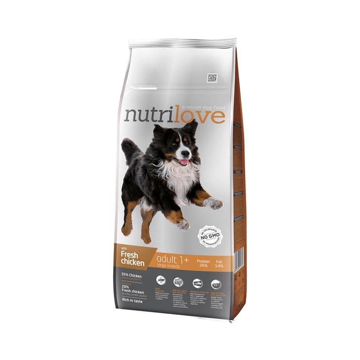 Sausas ėdalas šunims Nutrilove Large Adult, su vištiena, 12 kg