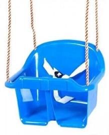Пластиковые детские качели со спинкой - синие