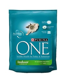 Sausas ėdalas suaugusioms katėms One Indoor, su kalakutiena, 800 gr