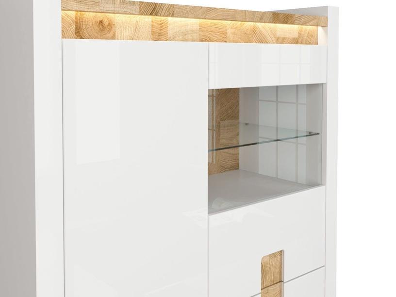 Kumode Black Red White Alameda LED Glass Cabinet White Gloss/Westminster Oak