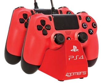 4Gamers Dual Controller Play And Charge Desktop Stand Red
