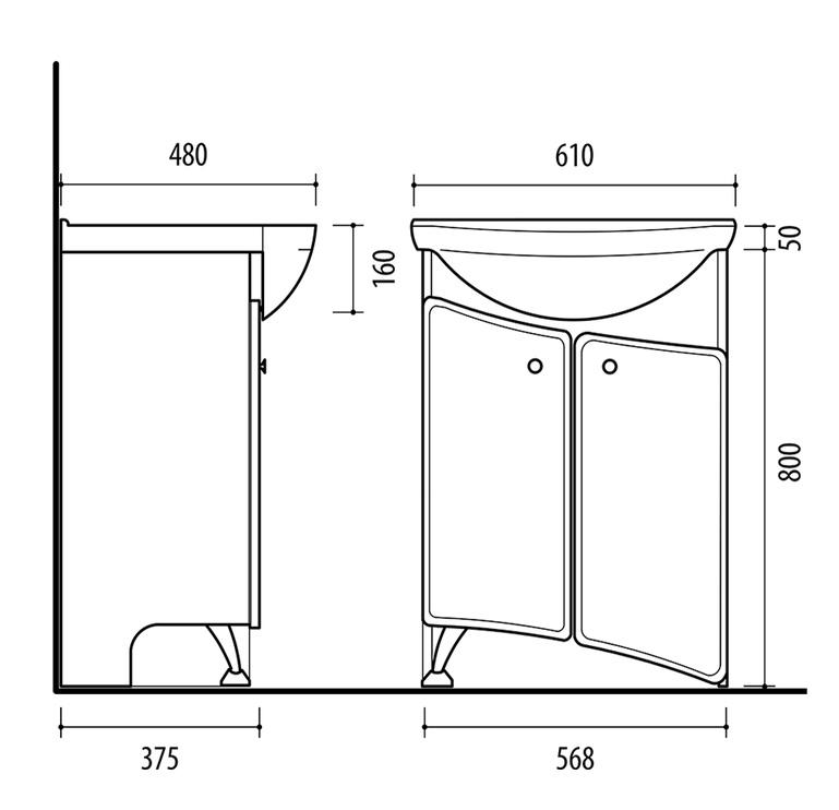 Riva White SA60-6 Bathroom Cabinet White