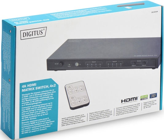 Digitus DS-50304 HDMI Matrix Switch 4x 2 Port with Audio Extractor