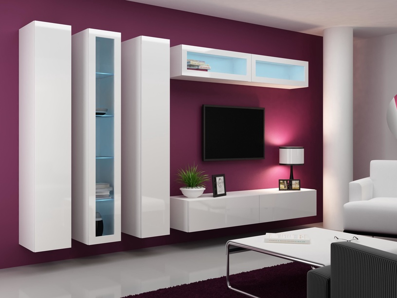 TV galds Cama Meble Vigo 180, balta, 1800x300x400 mm