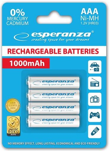 Esperanza Rechargaeble Batteries 4x AAA 1000mAh White