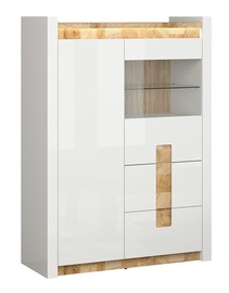 Black Red White Alameda LED Glass Cabinet White Gloss/Westminster Oak