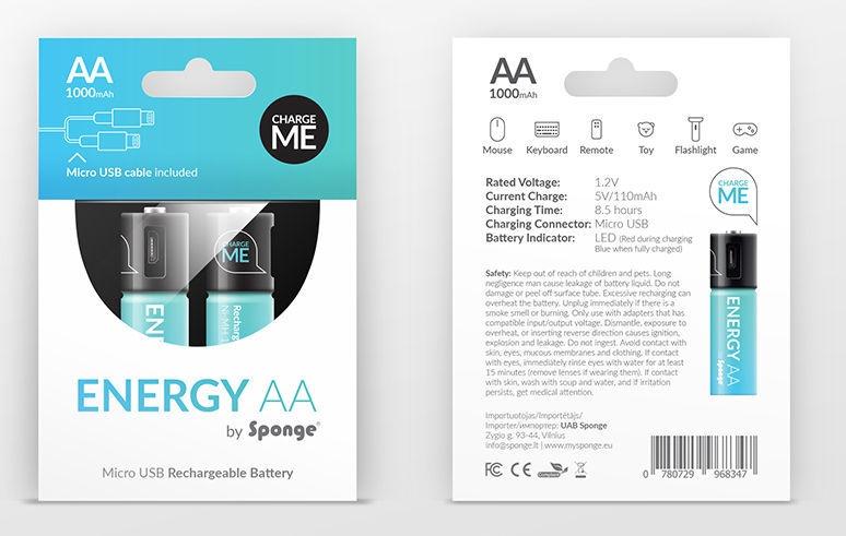 Sponge Energy Rechargeable Batteries With Micro USB 2x AA